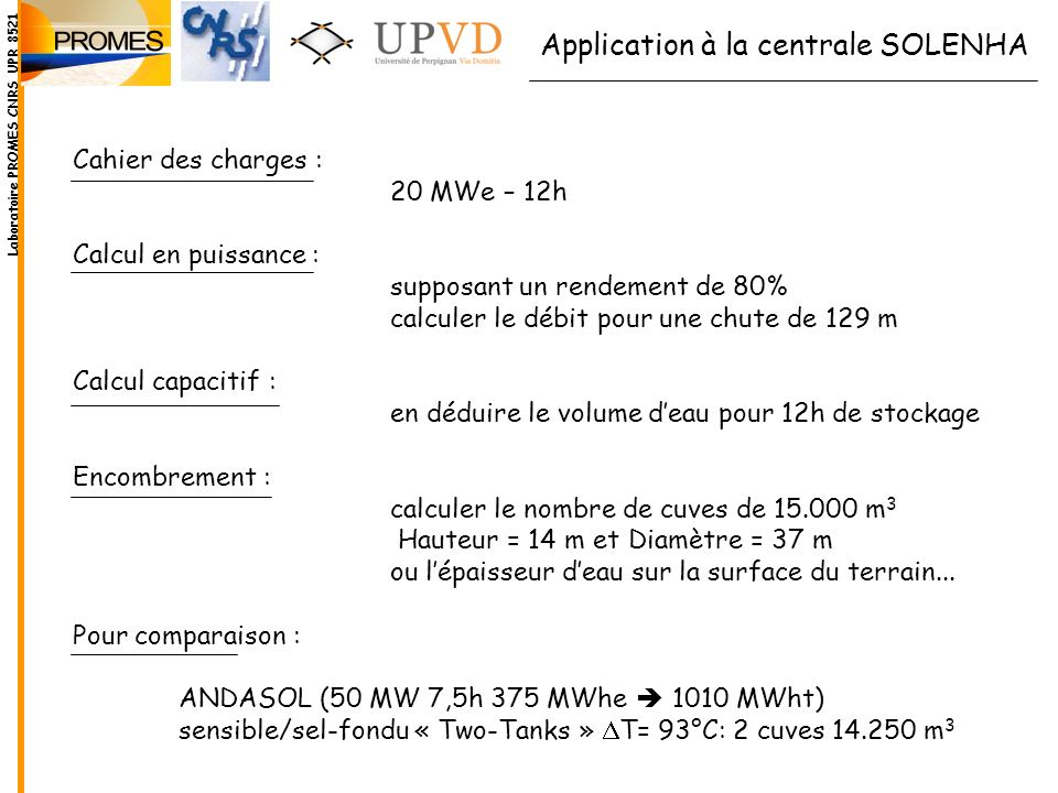 Application à la centrale SOLENHA