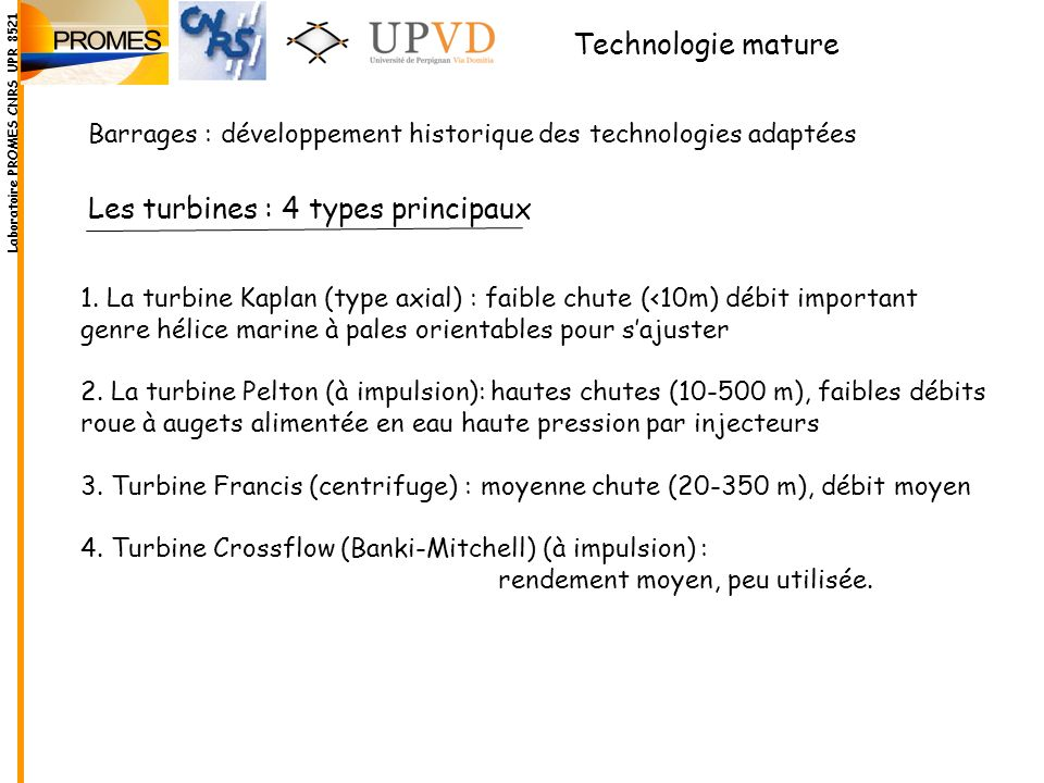 Les turbines : 4 types principaux