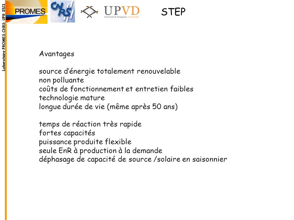 STEP Avantages source d'énergie totalement renouvelable non polluante