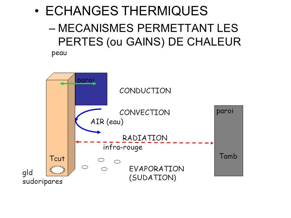 ECHANGES THERMIQUES MECANISMES PERMETTANT LES PERTES (ou GAINS) DE CHALEUR. peau. paroi. CONDUCTION.