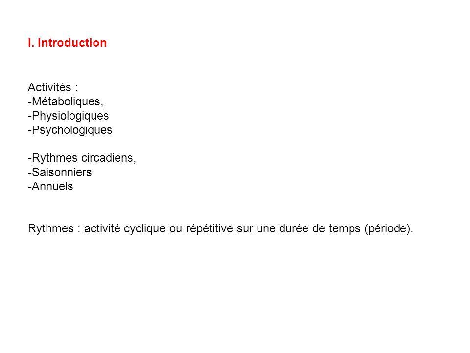 I. Introduction Activités : Métaboliques, Physiologiques. Psychologiques. Rythmes circadiens, Saisonniers.