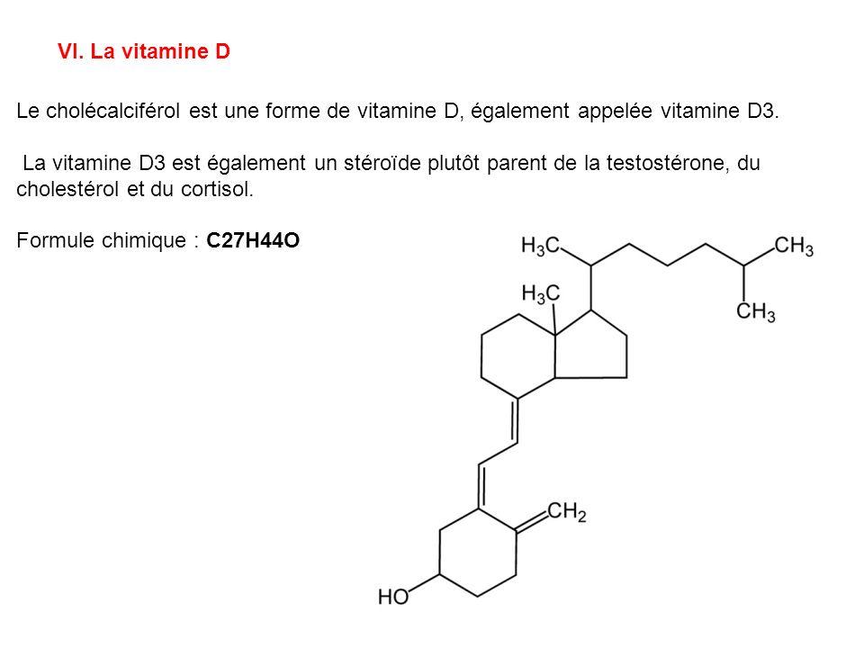 VI. La vitamine D Le cholécalciférol est une forme de vitamine D, également appelée vitamine D3.