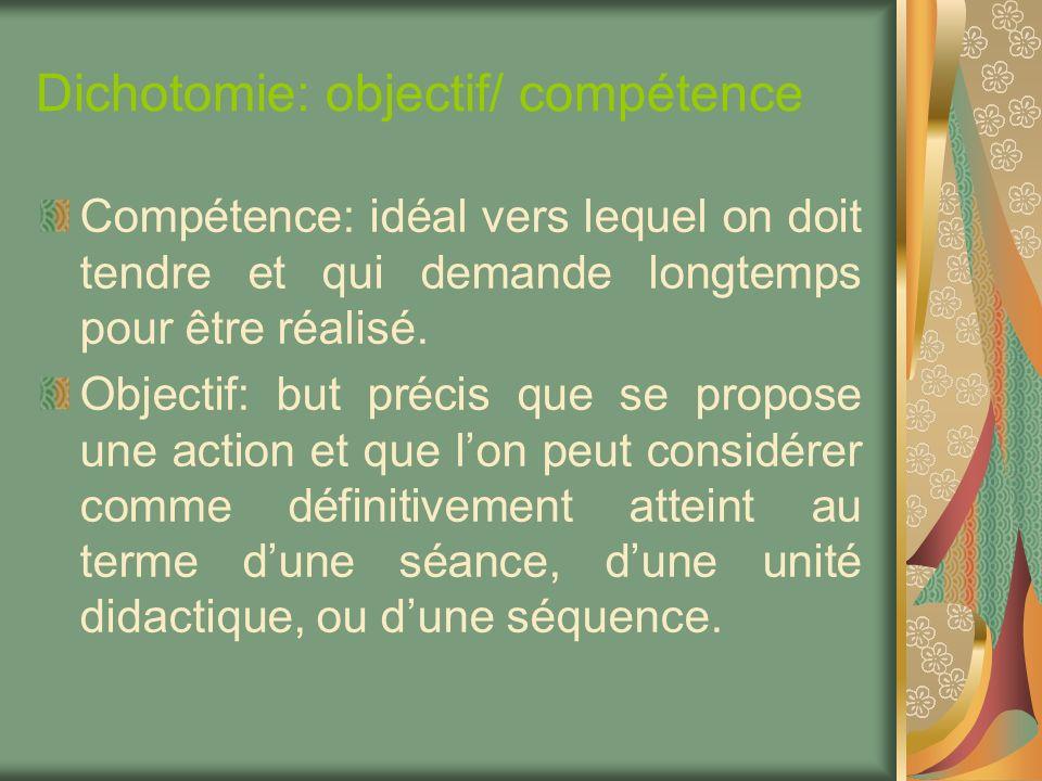 Dichotomie: objectif/ compétence