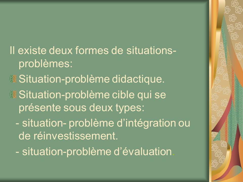 Il existe deux formes de situations-problèmes: