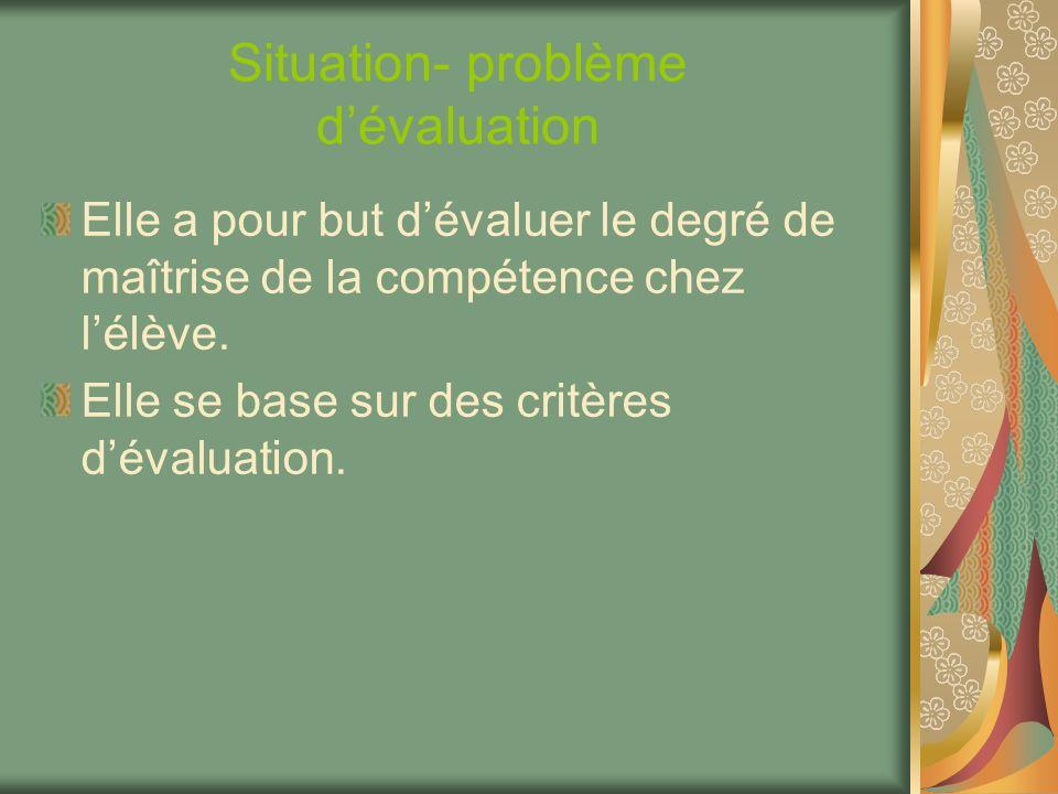 Situation- problème d'évaluation
