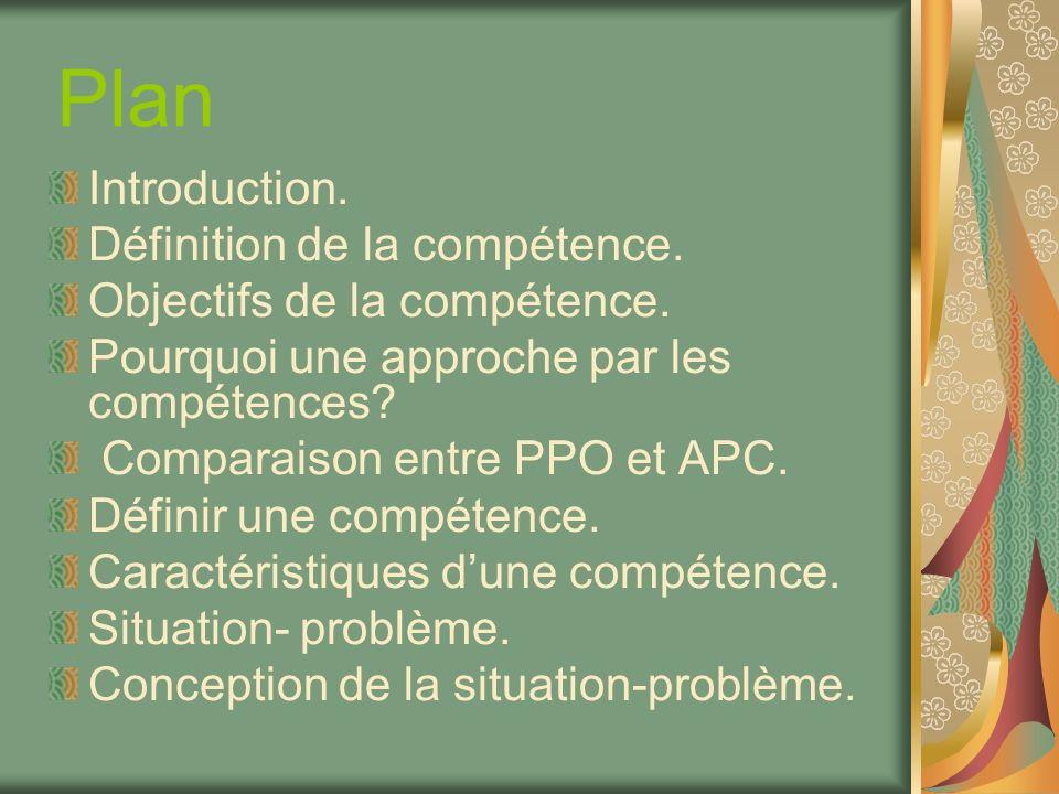 Plan Introduction. Définition de la compétence.