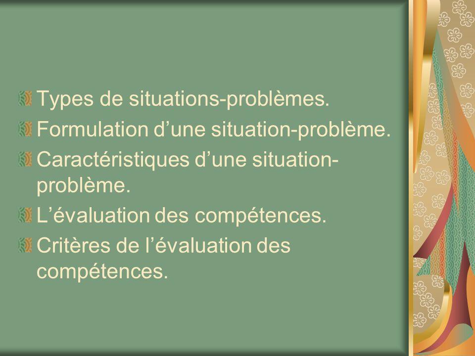 Types de situations-problèmes.