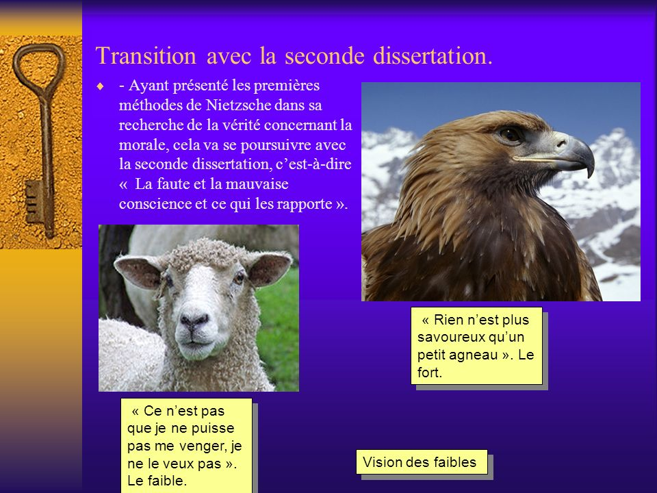 Transition avec la seconde dissertation.