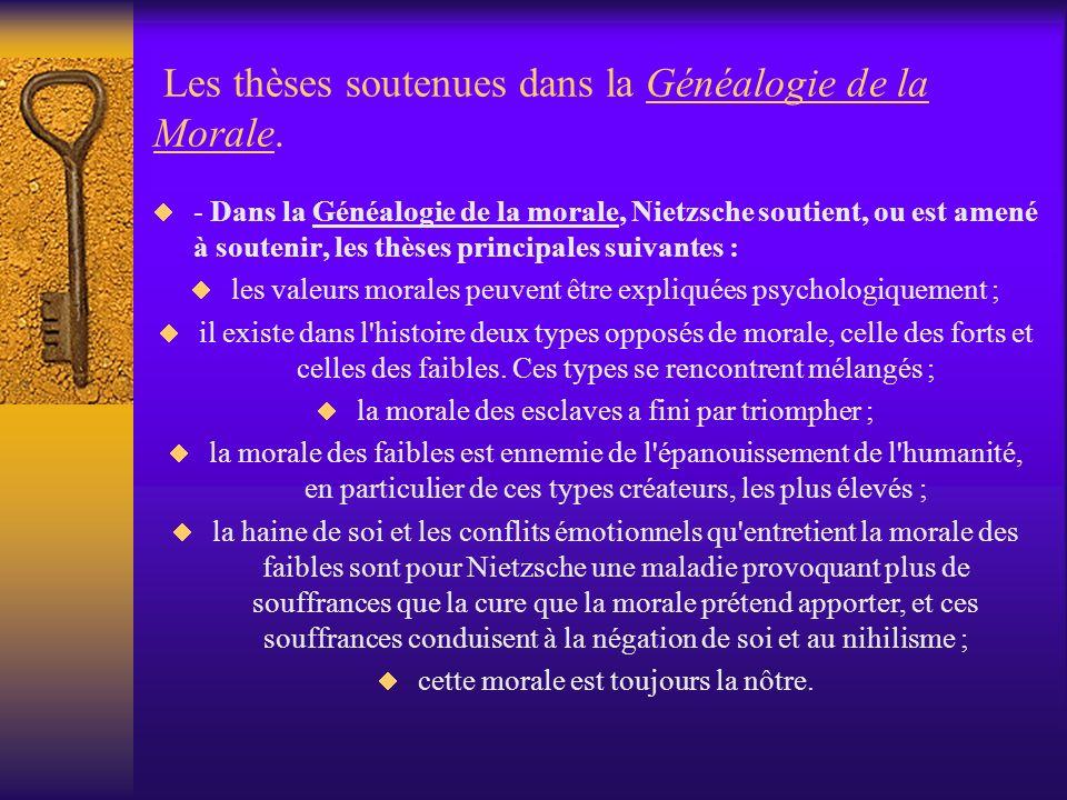 Les thèses soutenues dans la Généalogie de la Morale.