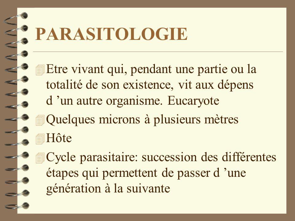 PARASITOLOGIEEtre vivant qui, pendant une partie ou la totalité de son existence, vit aux dépens d 'un autre organisme. Eucaryote.