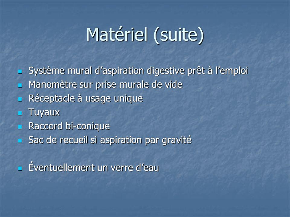 Matériel (suite) Système mural d'aspiration digestive prêt à l'emploi