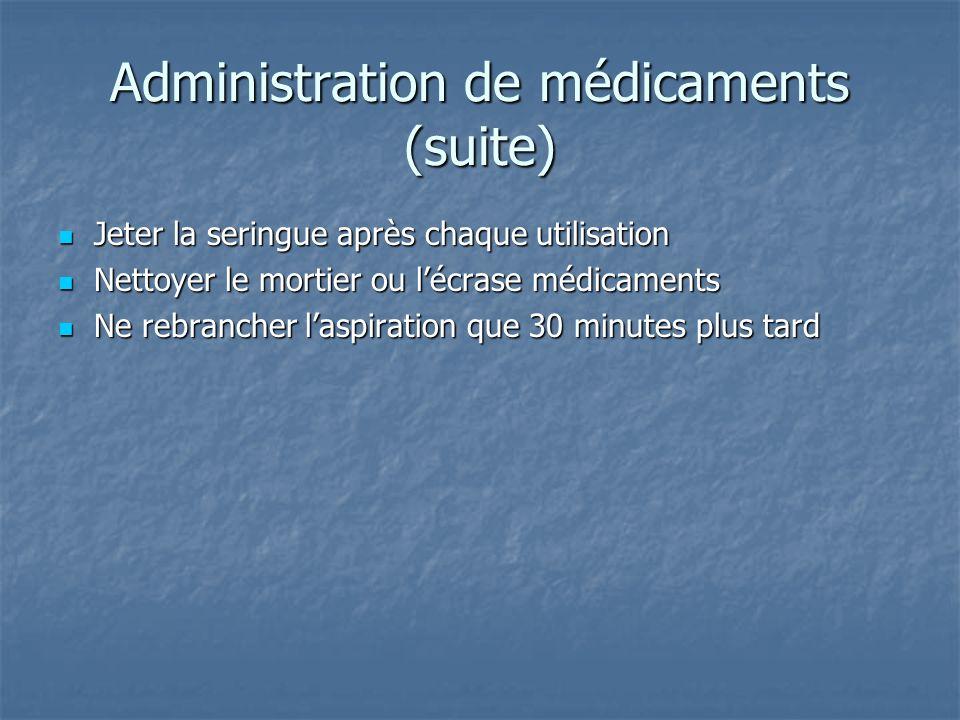 Administration de médicaments (suite)