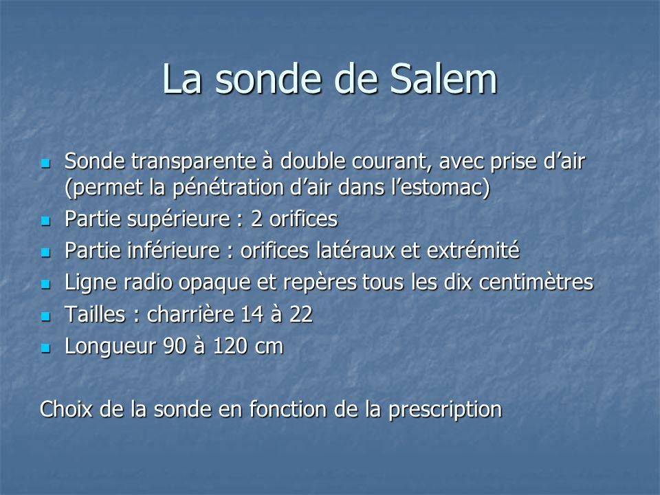 La sonde de Salem Sonde transparente à double courant, avec prise d'air (permet la pénétration d'air dans l'estomac)