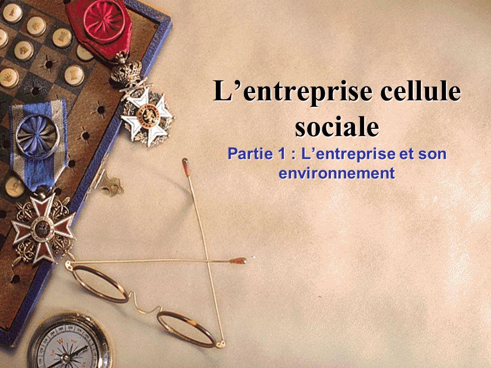 L'entreprise cellule sociale Partie 1 : L'entreprise et son environnement