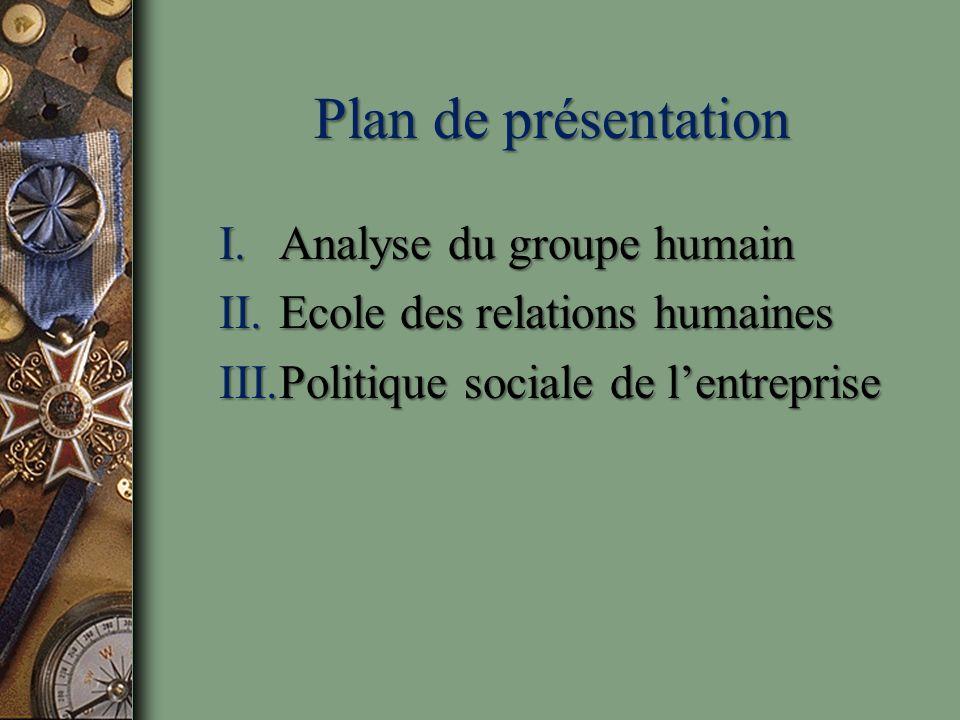 Plan de présentation Analyse du groupe humain