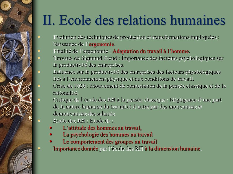 II. Ecole des relations humaines