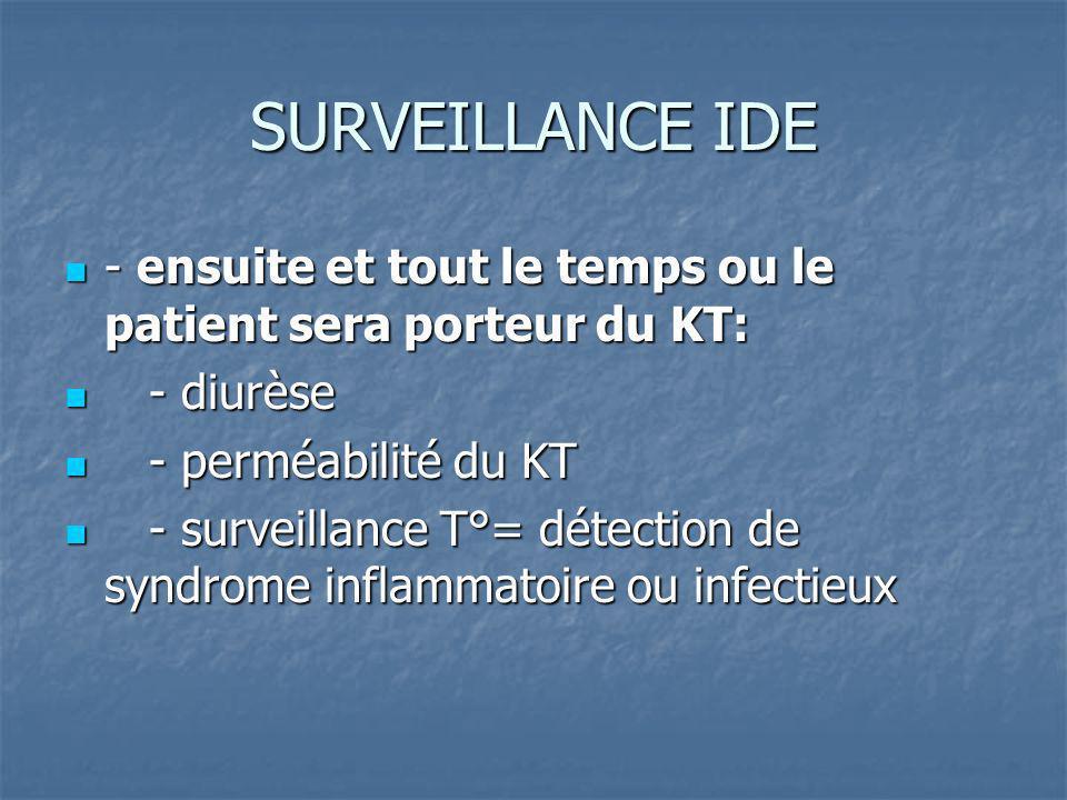 SURVEILLANCE IDE - ensuite et tout le temps ou le patient sera porteur du KT: - diurèse. - perméabilité du KT.