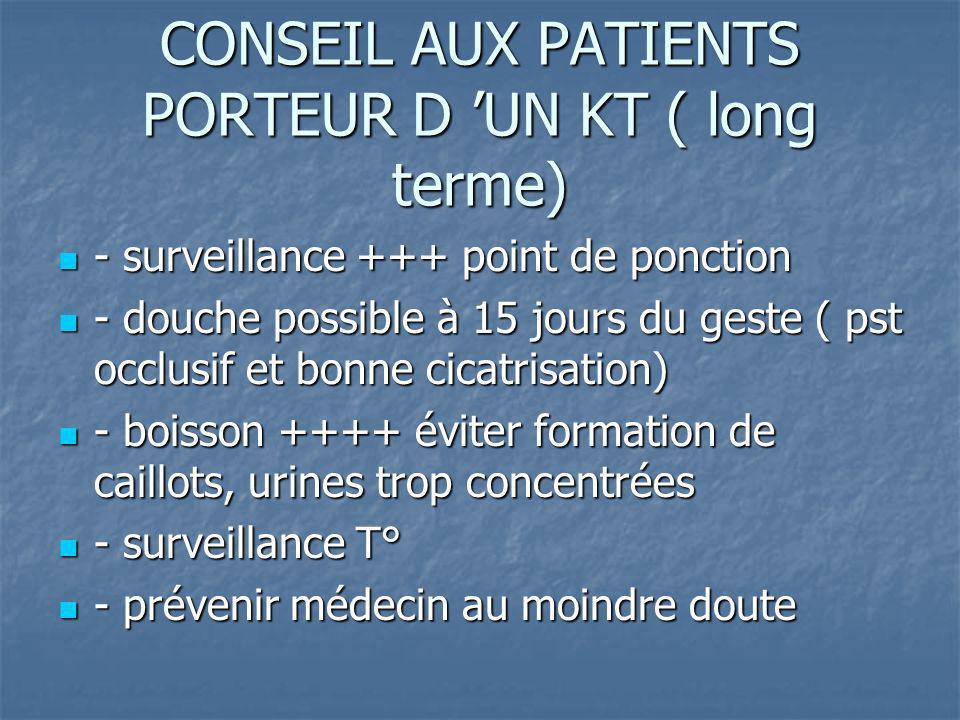 CONSEIL AUX PATIENTS PORTEUR D 'UN KT ( long terme)