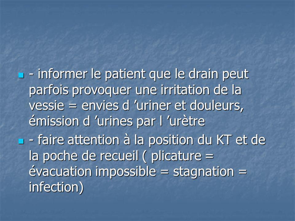 - informer le patient que le drain peut parfois provoquer une irritation de la vessie = envies d 'uriner et douleurs, émission d 'urines par l 'urètre