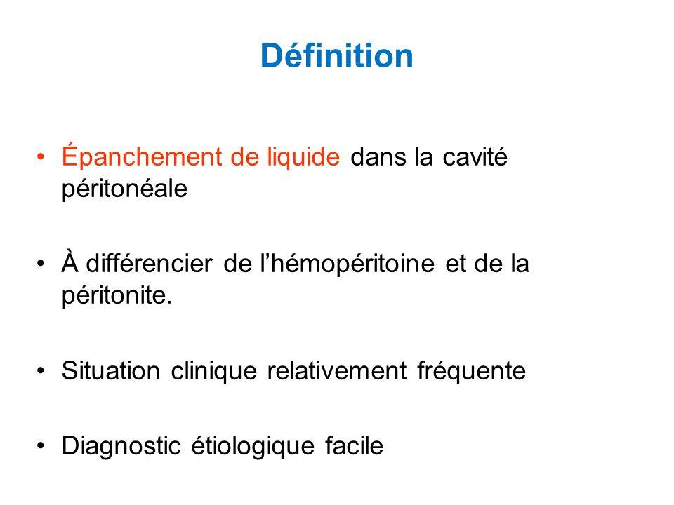 Définition Épanchement de liquide dans la cavité péritonéale