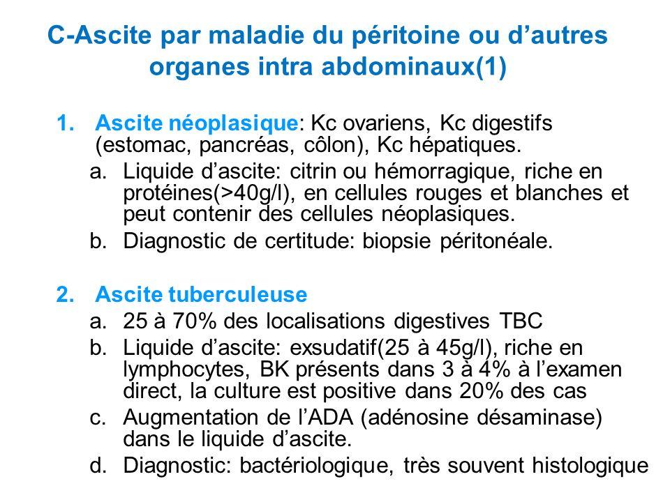 C-Ascite par maladie du péritoine ou d'autres organes intra abdominaux(1)