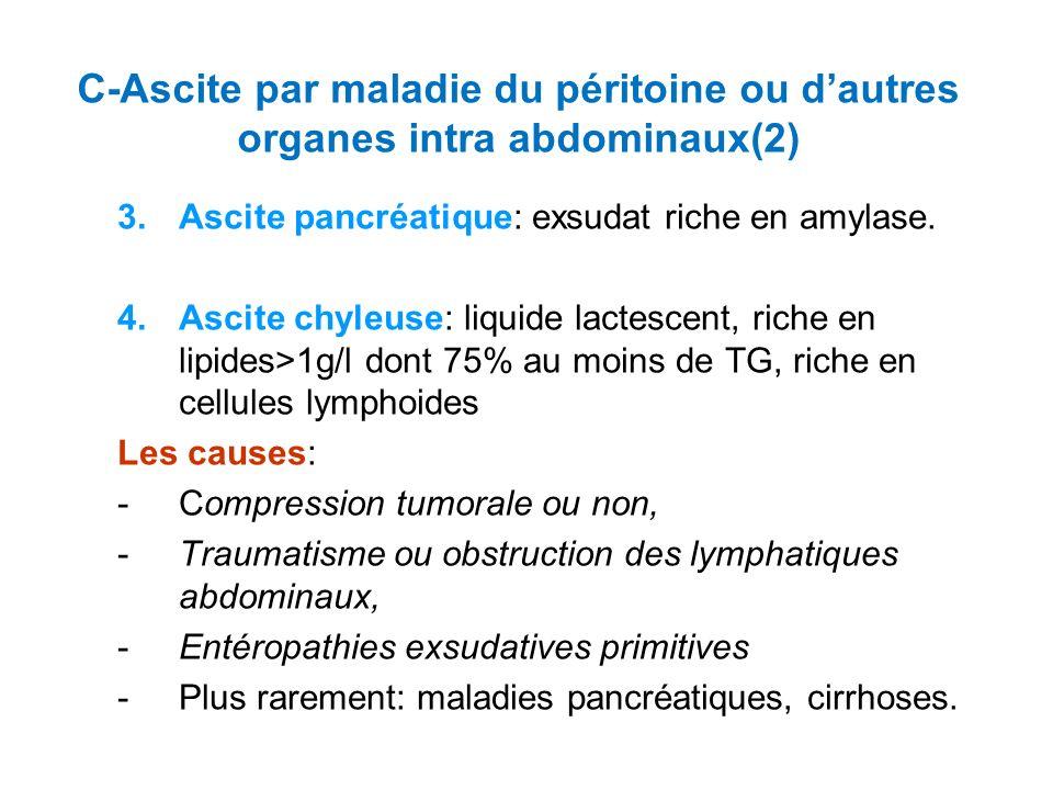 C-Ascite par maladie du péritoine ou d'autres organes intra abdominaux(2)