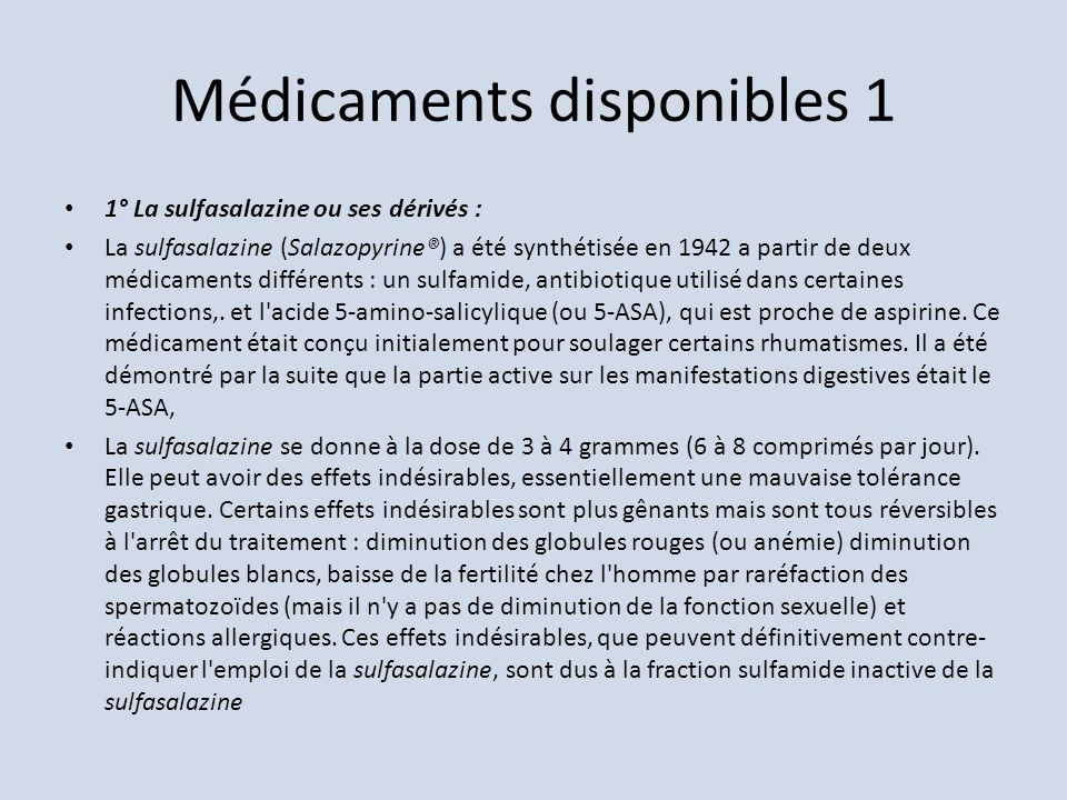 Médicaments disponibles 1
