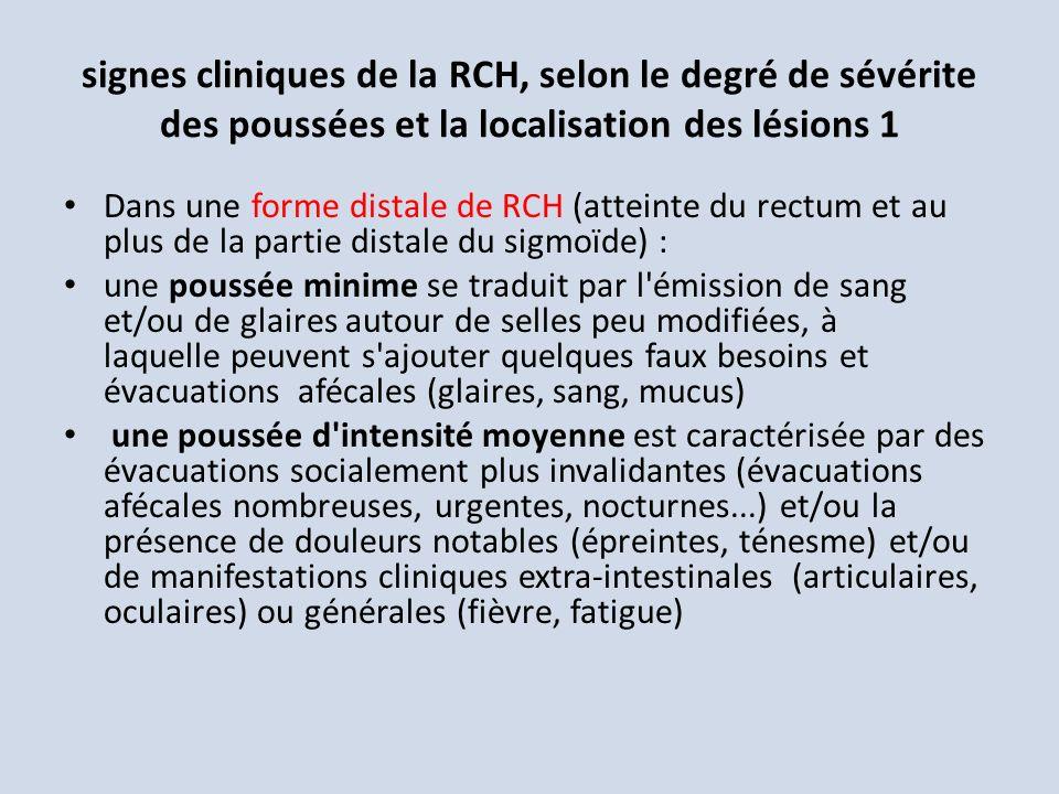 signes cliniques de la RCH, selon le degré de sévérite des poussées et la localisation des lésions 1