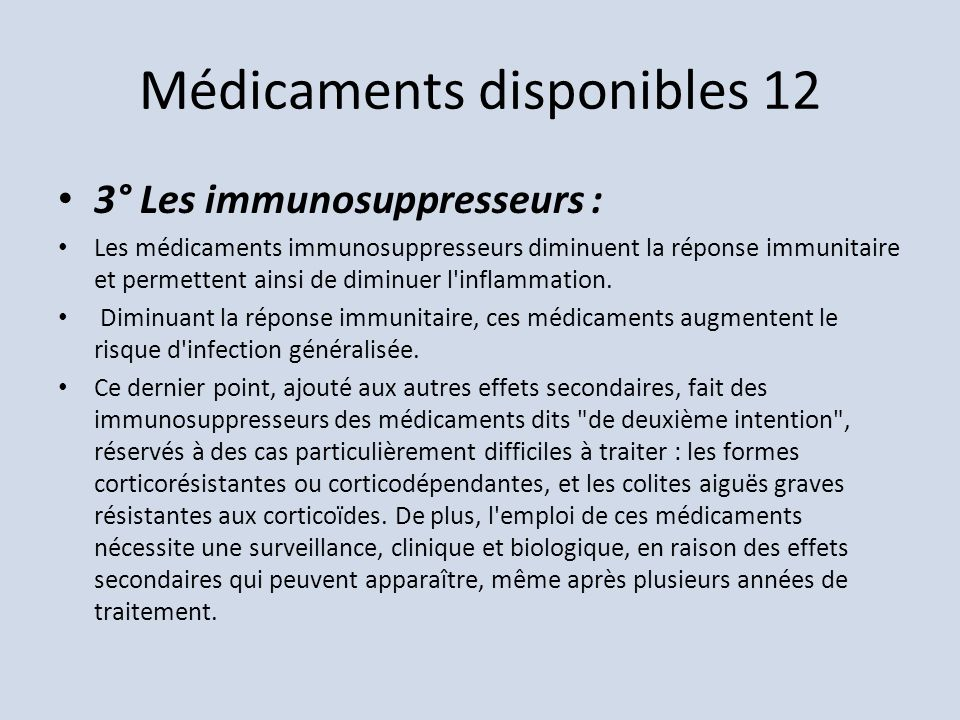 Médicaments disponibles 12