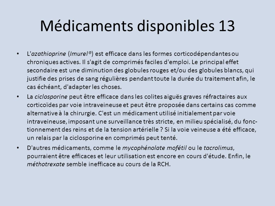Médicaments disponibles 13