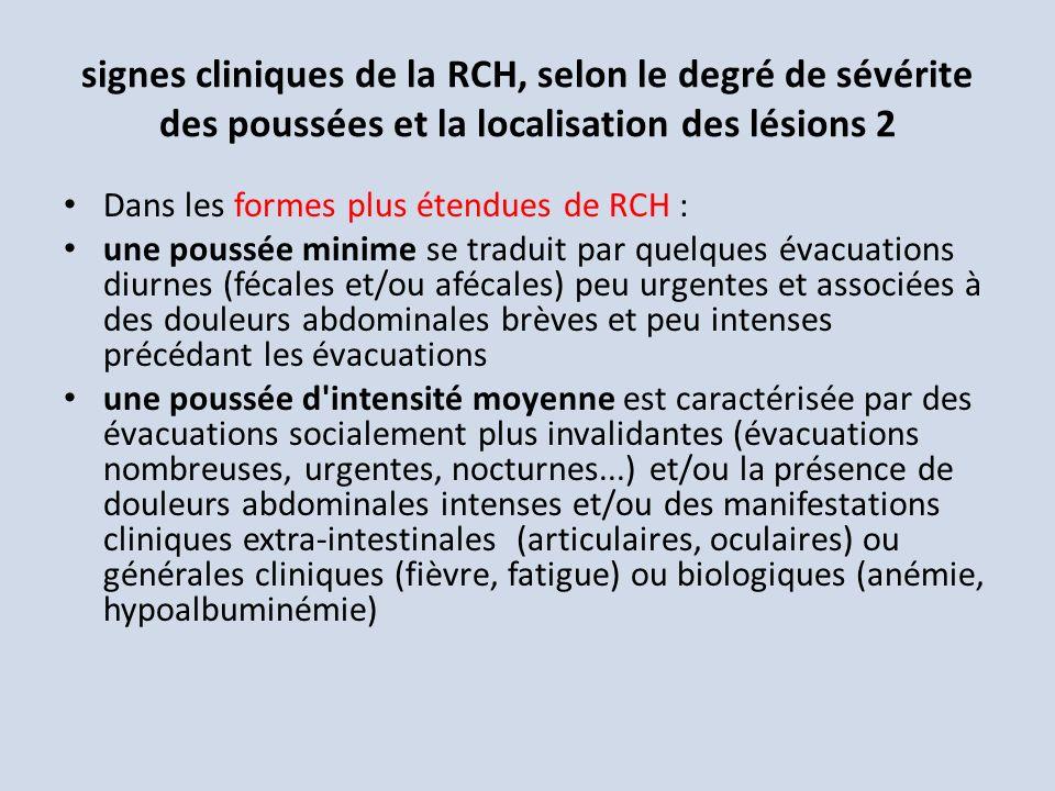 signes cliniques de la RCH, selon le degré de sévérite des poussées et la localisation des lésions 2