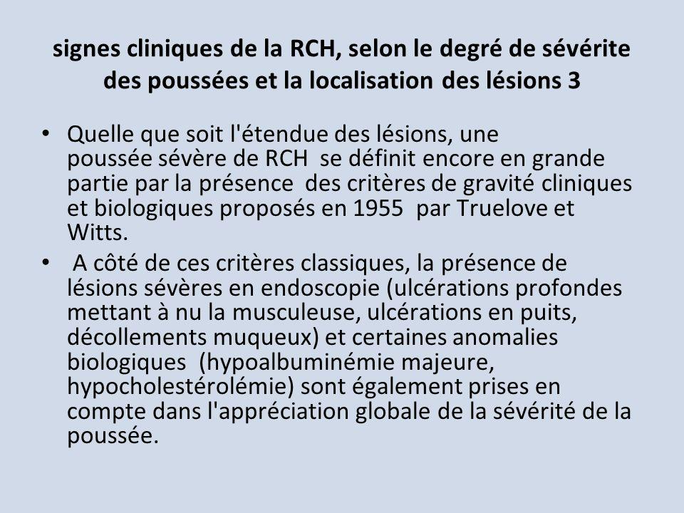 signes cliniques de la RCH, selon le degré de sévérite des poussées et la localisation des lésions 3
