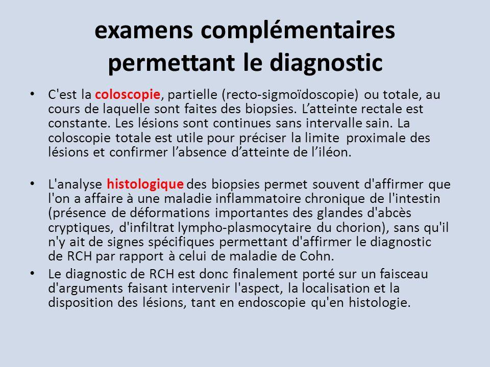 examens complémentaires permettant le diagnostic