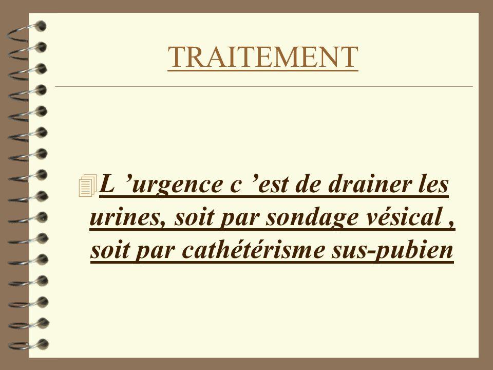 TRAITEMENT L 'urgence c 'est de drainer les urines, soit par sondage vésical , soit par cathétérisme sus-pubien.