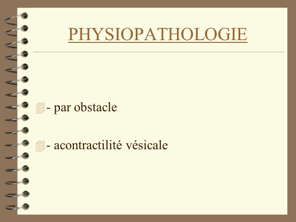 PHYSIOPATHOLOGIE - par obstacle - acontractilité vésicale