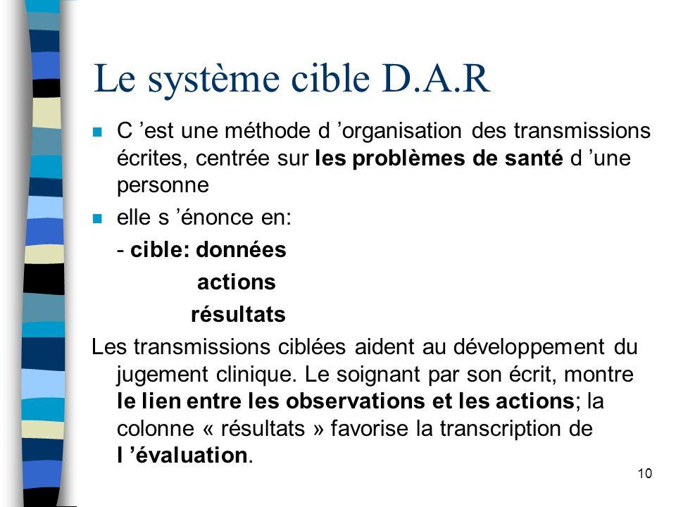 Le système cible D.A.R C 'est une méthode d 'organisation des transmissions écrites, centrée sur les problèmes de santé d 'une personne.