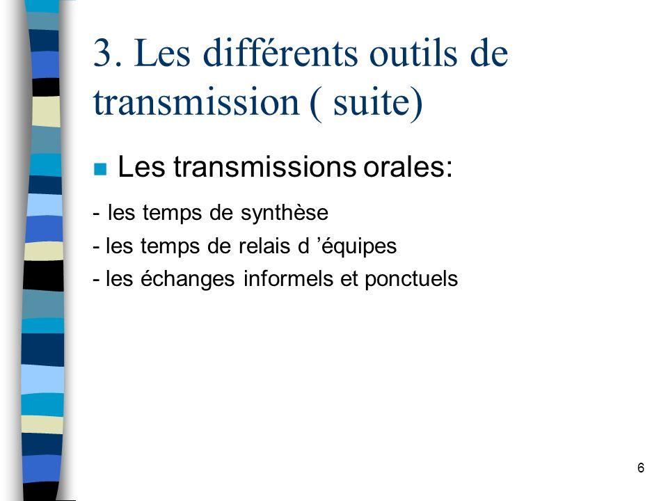 3. Les différents outils de transmission ( suite)