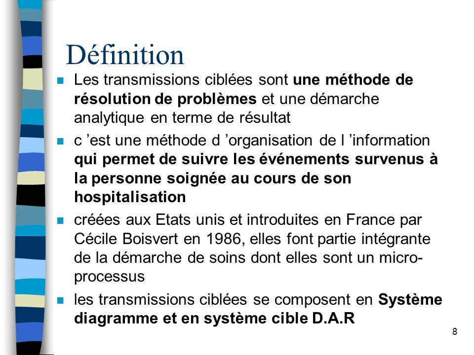 Définition Les transmissions ciblées sont une méthode de résolution de problèmes et une démarche analytique en terme de résultat.