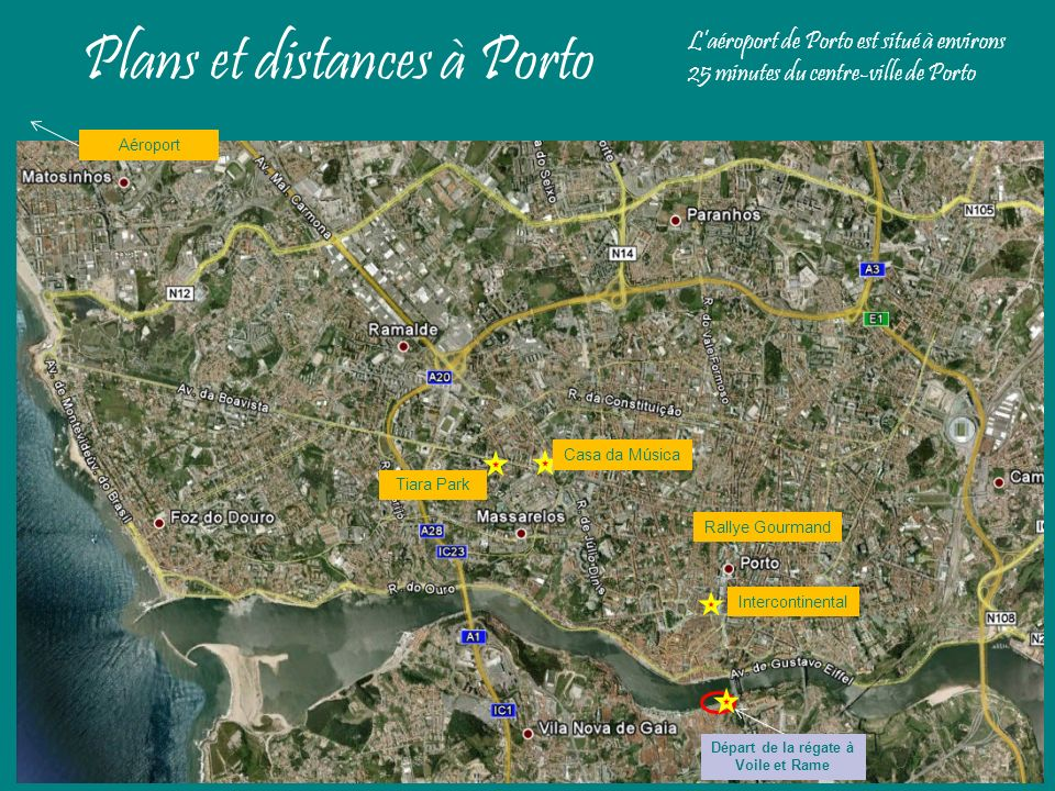 Plans et distances à Porto