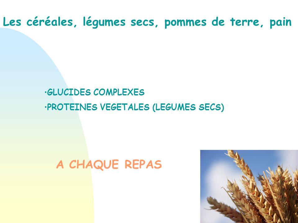 Les céréales, légumes secs, pommes de terre, pain