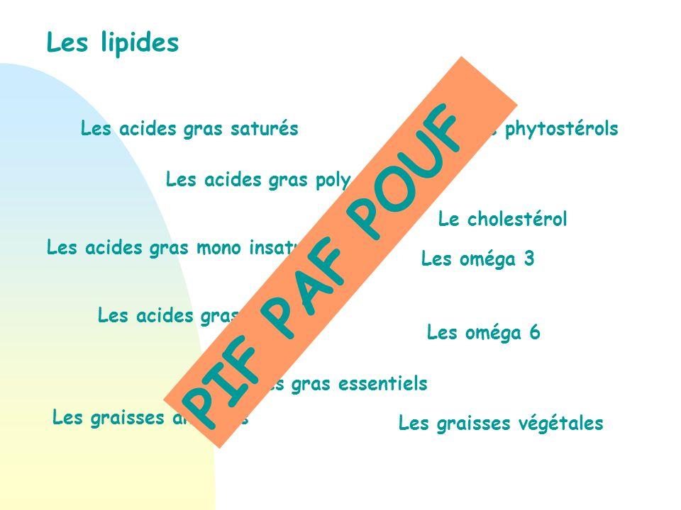 PIF PAF POUF Les lipides Les acides gras saturés Les phytostérols