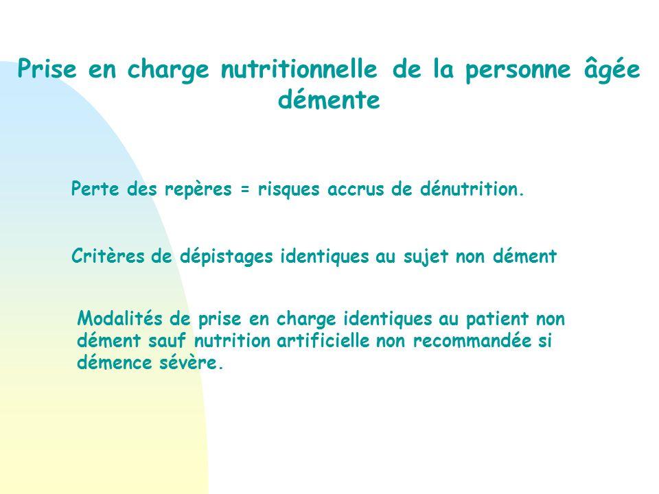Prise en charge nutritionnelle de la personne âgée démente
