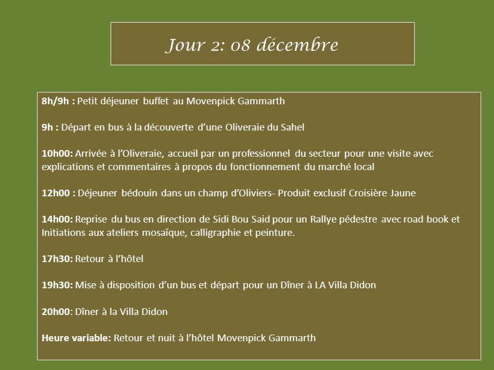 Jour 2: 08 décembre 8h/9h : Petit déjeuner buffet au Movenpick Gammarth. 9h : Départ en bus à la découverte d'une Oliveraie du Sahel.