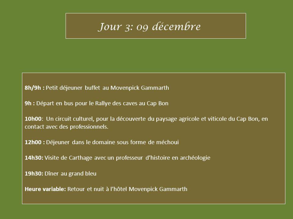 Jour 3: 09 décembre 8h/9h : Petit déjeuner buffet au Movenpick Gammarth. 9h : Départ en bus pour le Rallye des caves au Cap Bon.