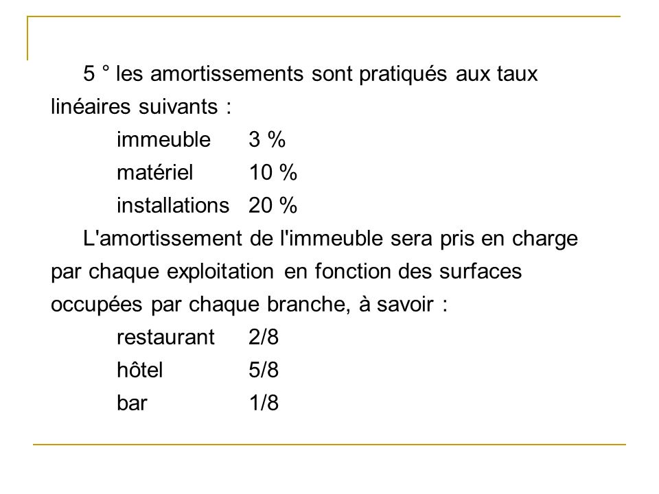 5 ° les amortissements sont pratiqués aux taux linéaires suivants :