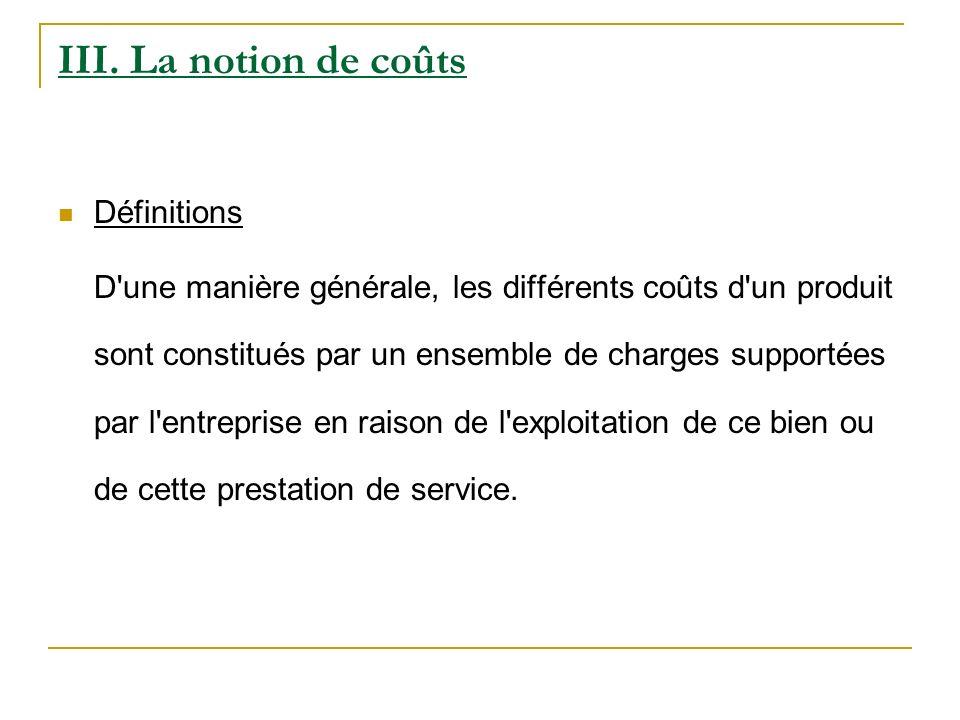 III. La notion de coûts Définitions