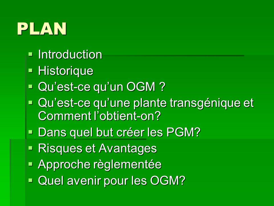PLAN Introduction Historique Qu'est-ce qu'un OGM