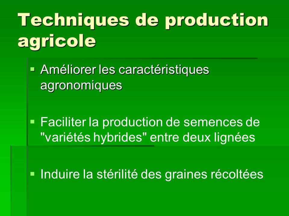 Techniques de production agricole