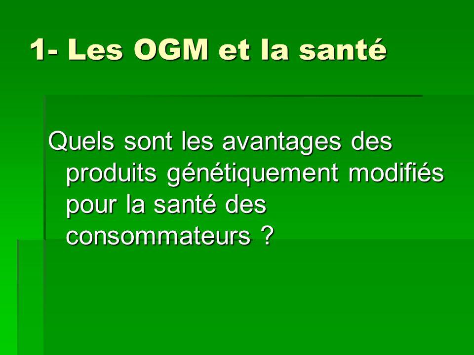 1- Les OGM et la santé Quels sont les avantages des produits génétiquement modifiés pour la santé des consommateurs