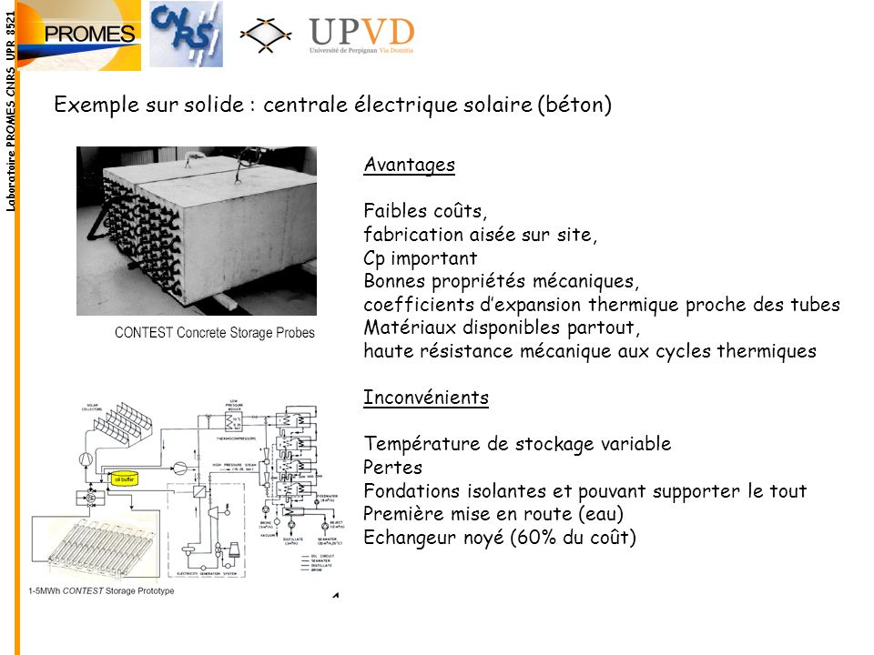 Exemple sur solide : centrale électrique solaire (béton)